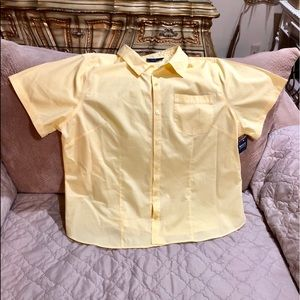 New Yellow Basic Edition Button Down Blouse